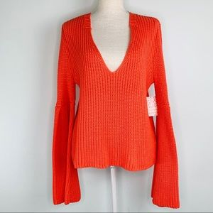 NWT Free People Coral V-Neck Cable Knit Sweater M